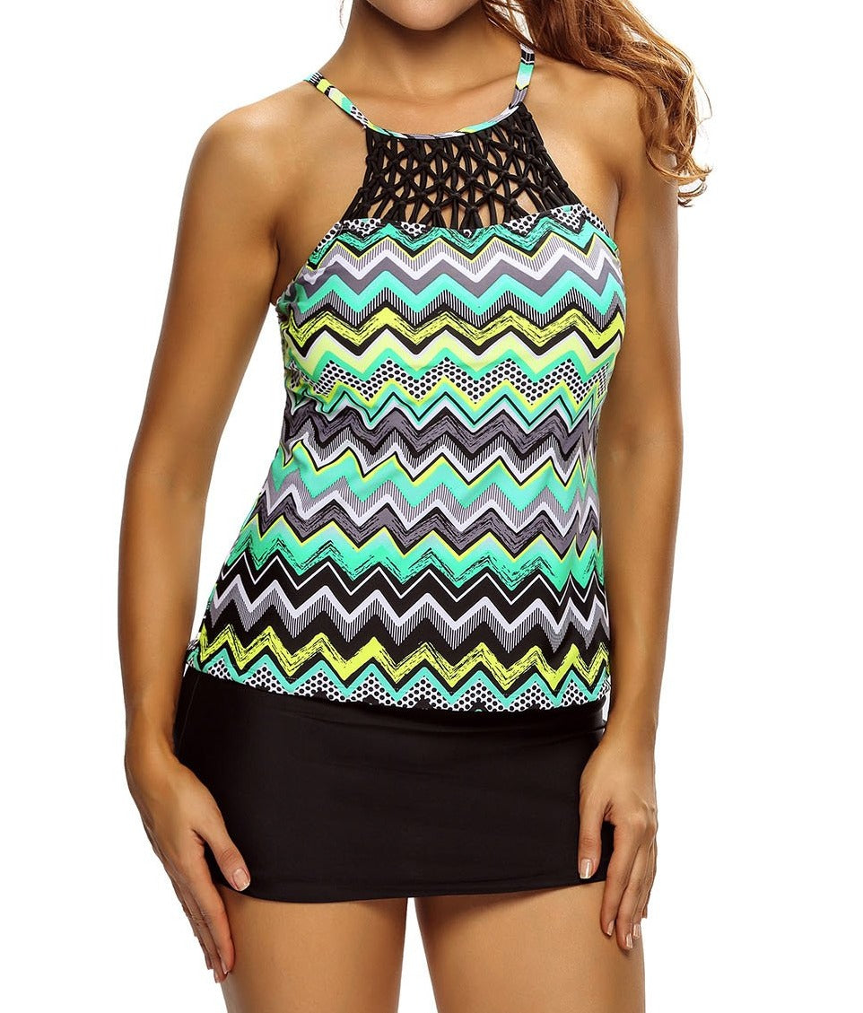 Multicolor Zigzag Print Macrame High Neck Swim Top