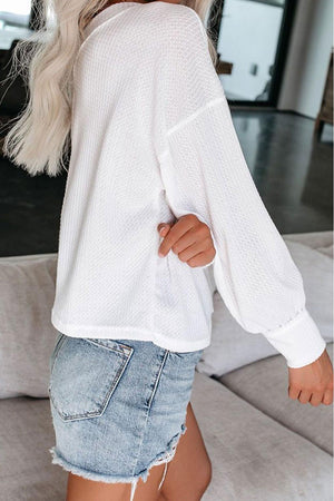White The Morning View Thermal Knit Top
