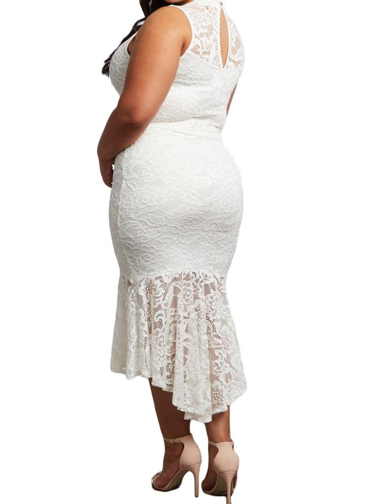 White Lace High Low Plus Size Party Dress