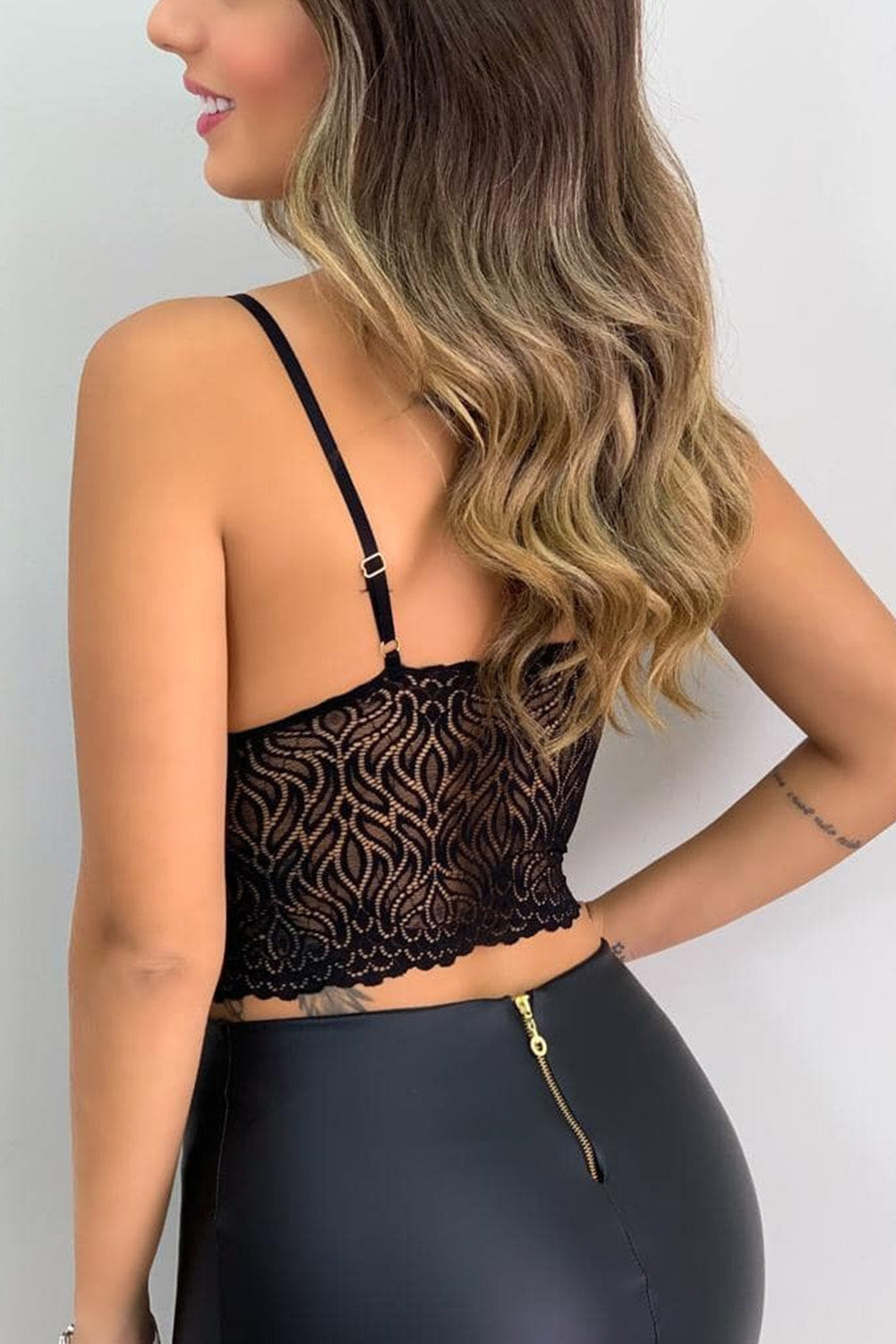 Black Lace Bralette Crop Top