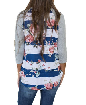 Blue White Bold Stripe Rose Floral Shirt