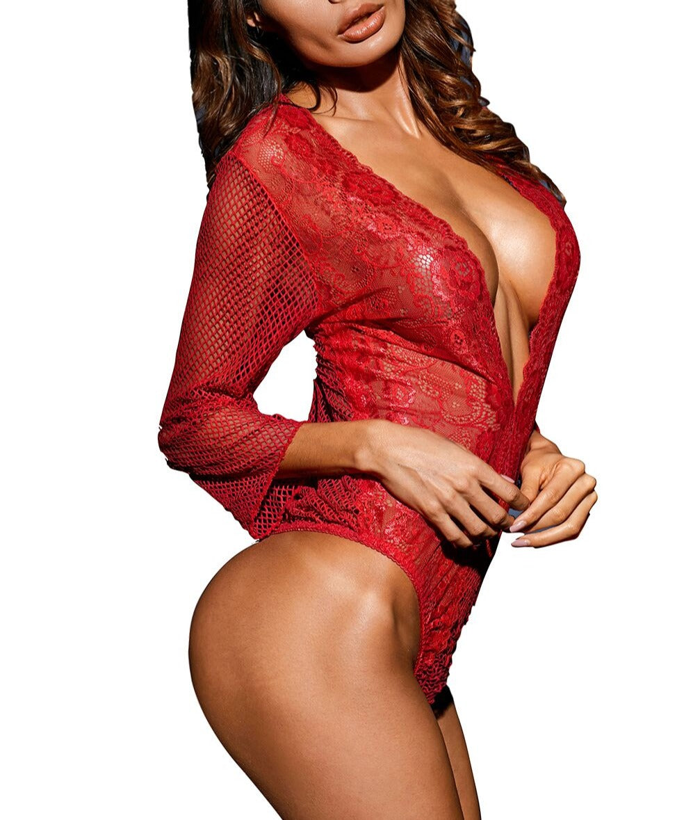 Ravishing Red Fishnet Teddy