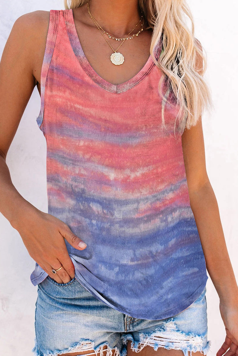 Orange Tie-dye Knit Tank