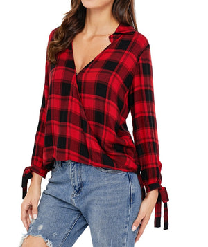 Black Red Plaid Drape Top