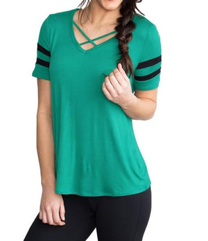 Varsity Striped Short Sleeve Mint V Neck T-shirt