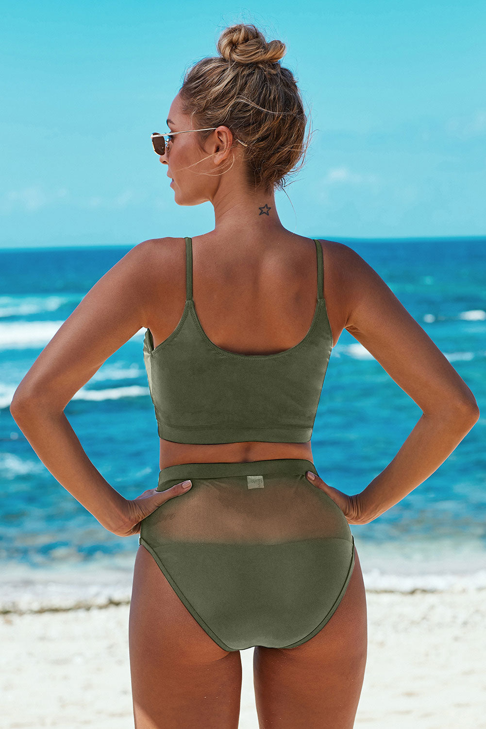 Army Green The Weekend Two-piece Mesh Patchwork Bikini
