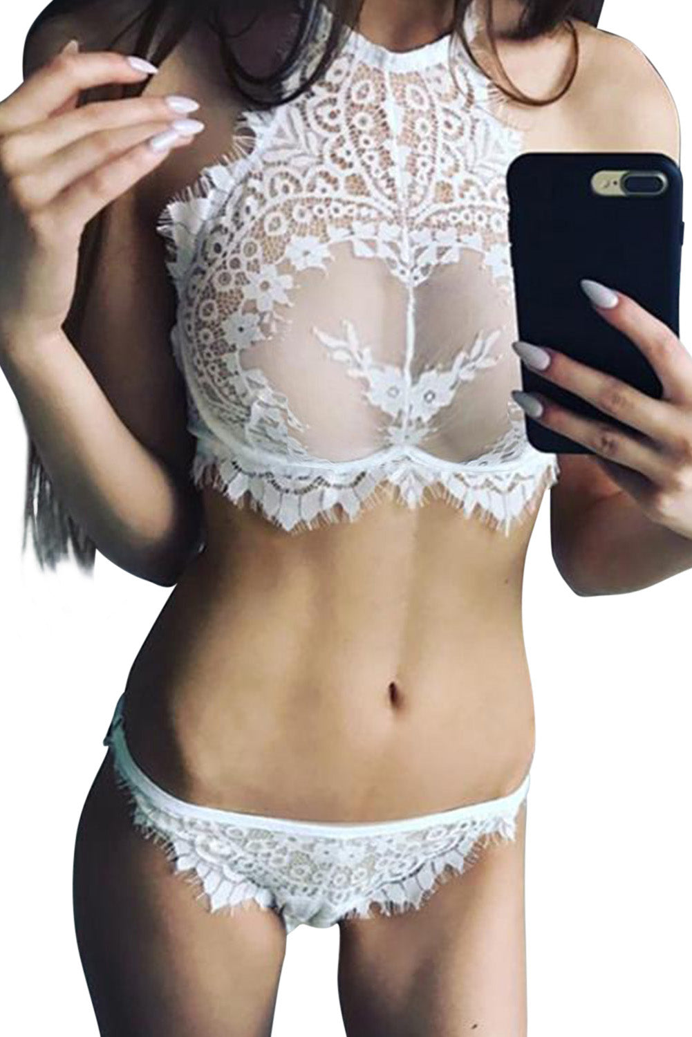 Alluring White Eyelash Lace Trim Lingerie Set