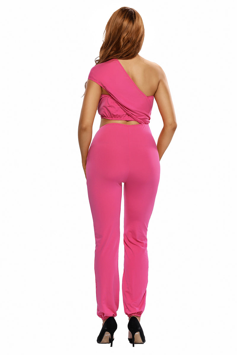 Bright Pink One-shoulder Jumpsuit
