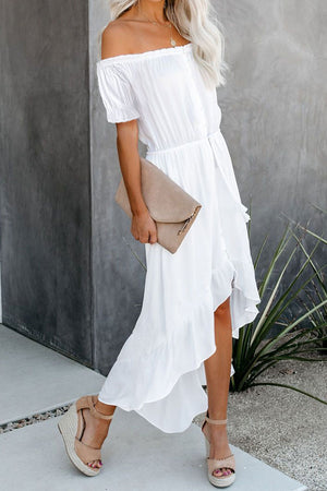 White Glaze High Low Off The Shoulder Maxi Dress