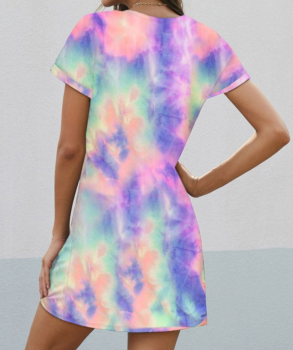 Multicolor Tie-dye Short Sleeve Side Knot T-shirt Dress