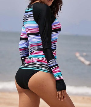Asymmetric Tie Dye Striped Rashguard Swim Top