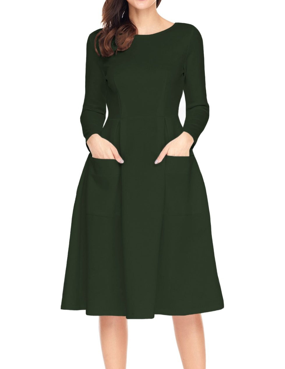 Green Bateau Collar Casual Big Pocket Skater Dress