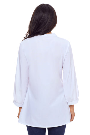 White Lace and Pleated Detail Button up Blouse