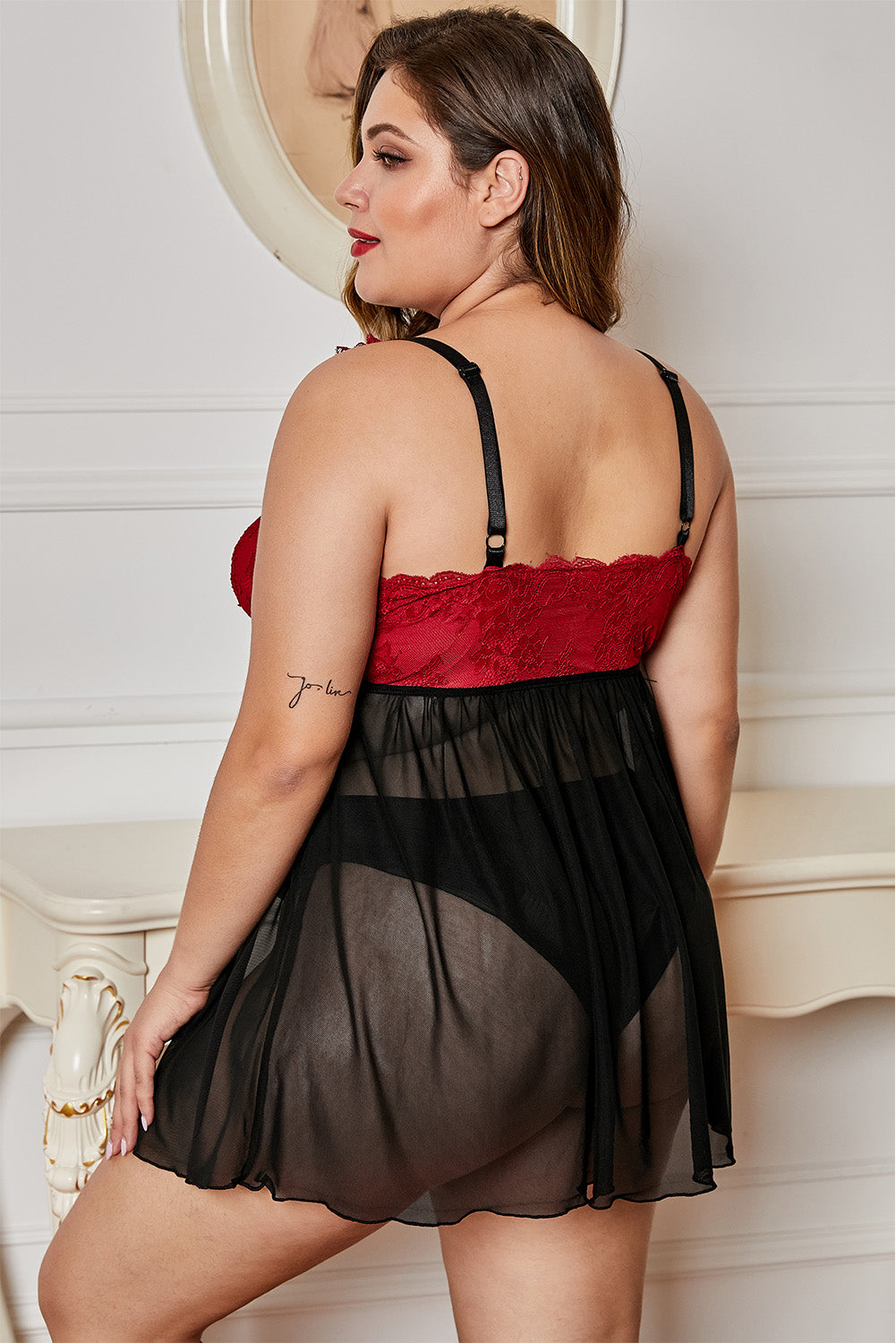 Black Lace Cup Tulle Skirt Plus Size Babydoll