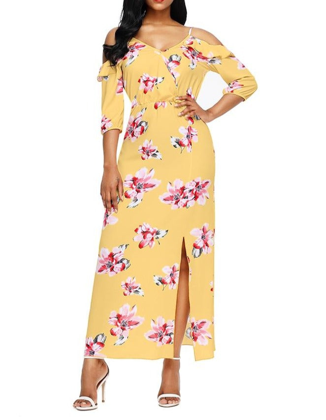 Yellow Cold Shoulder Floral Slit Maxi Dress