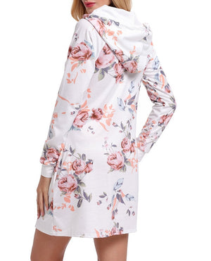 White Floral Print Drawstring Hoodie Dress