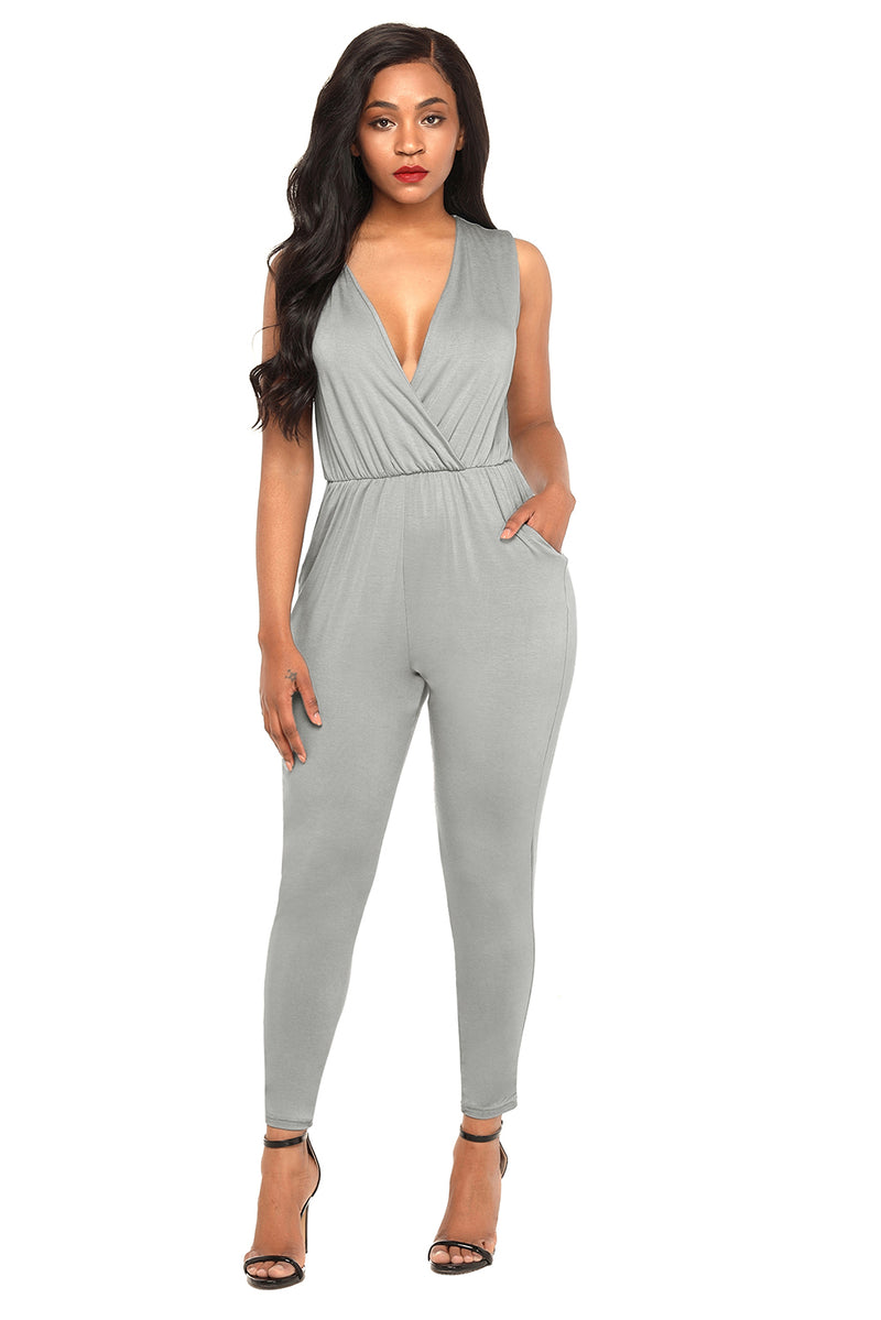 Gray Deep V Neck Sleeveless Jumpsuit