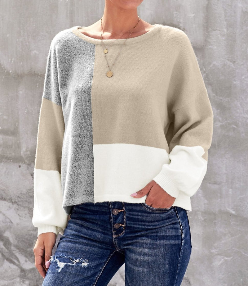 Apricot Color Block Sweater
