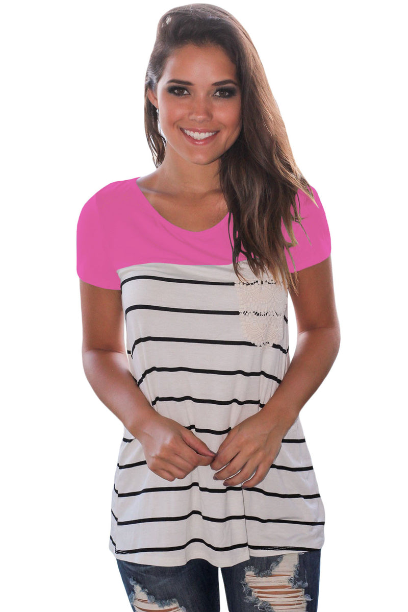 Rosy Splice Striped Short Sleeve T-shirt