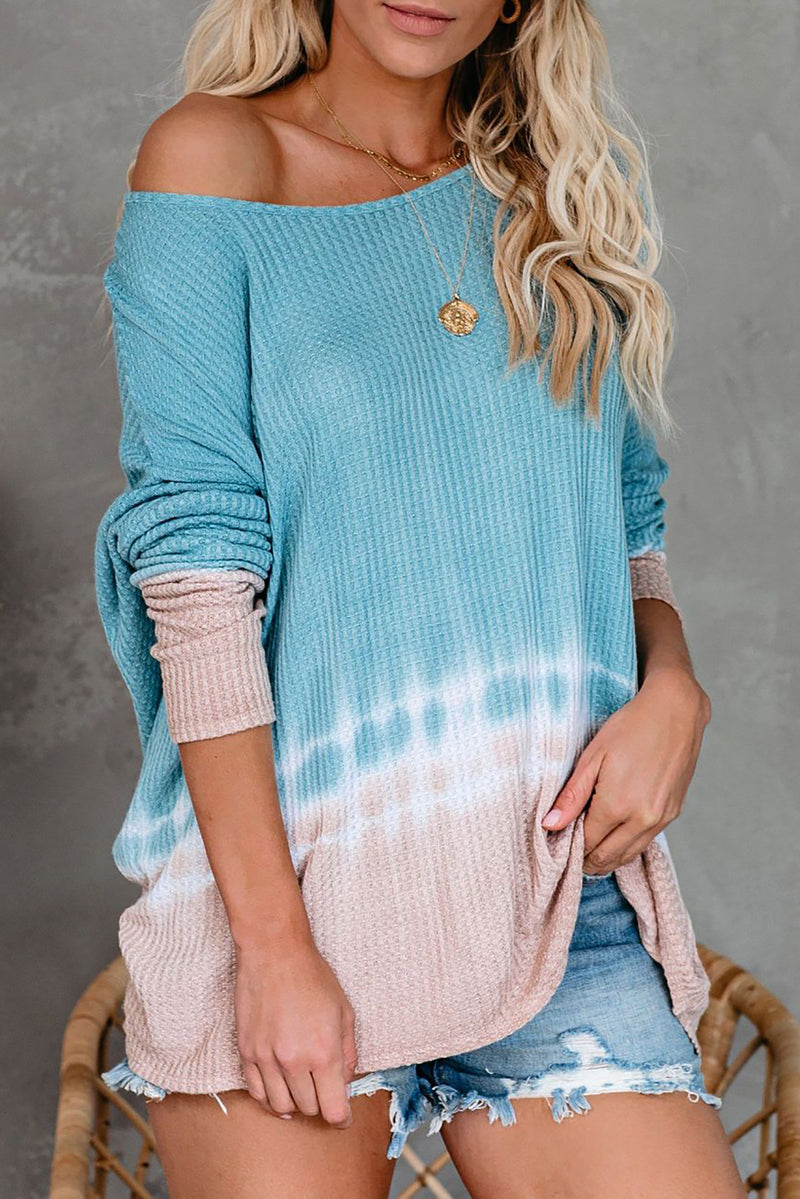 Sky Blue Tie Dye Thermal Knit Top