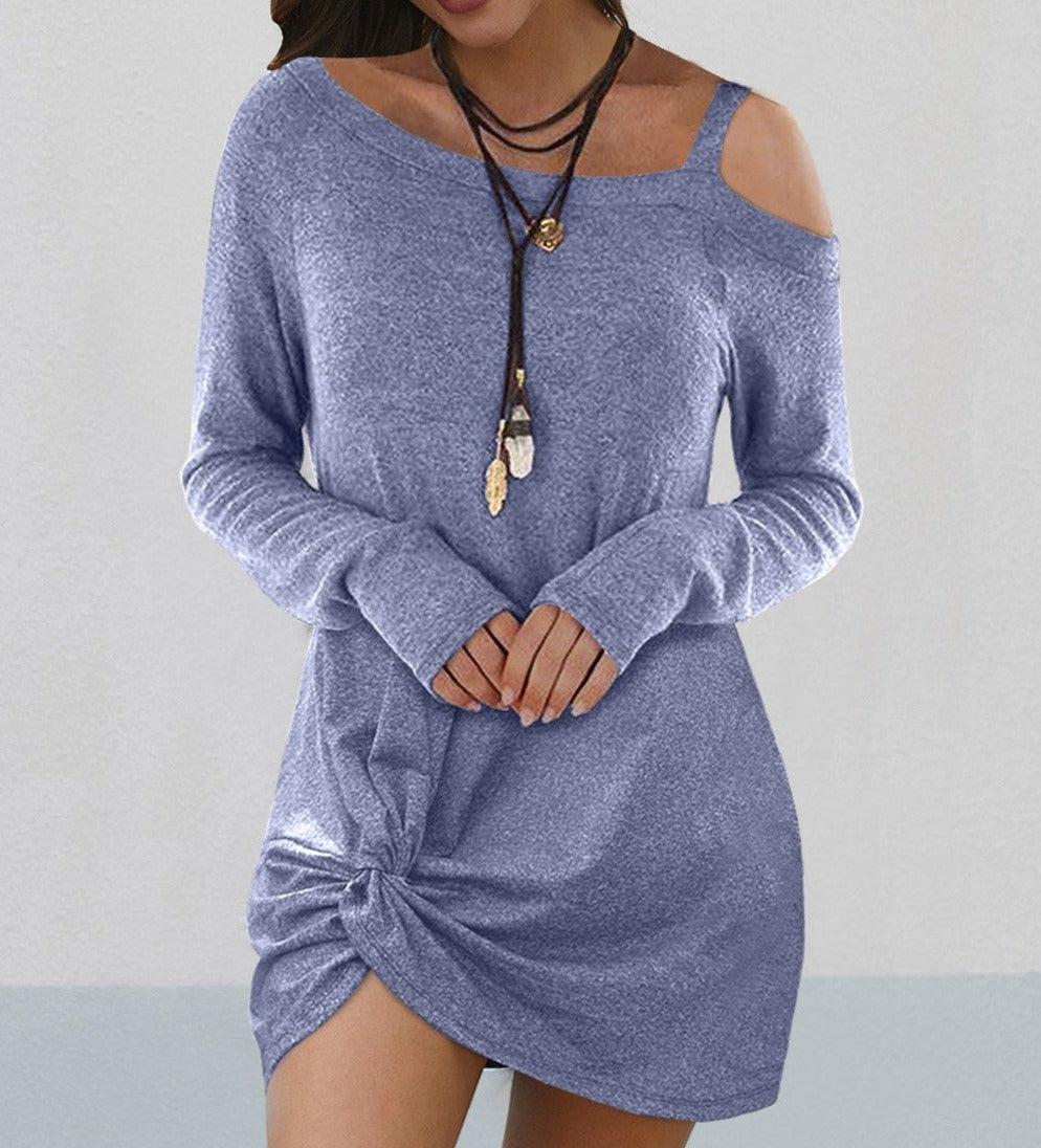 Sky Blue Cold Shoulder Twist Knit Mini Dress