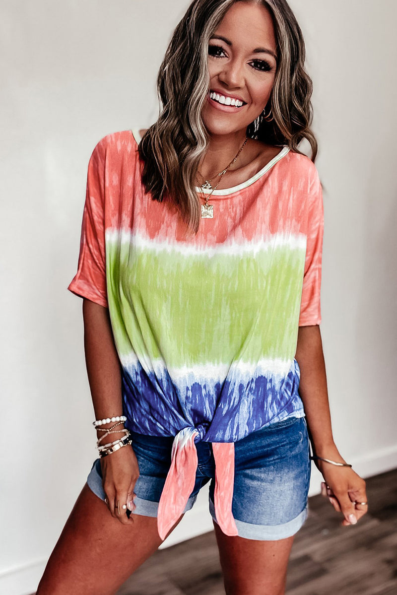 Ombre Colorblock T-shirt with Knot