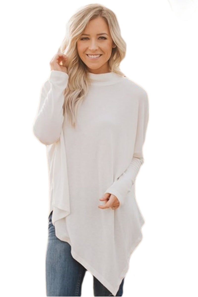 White Soft Faux Poncho High Neck Sweater