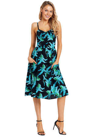 Green Leaf Print Black Button Down Sundress