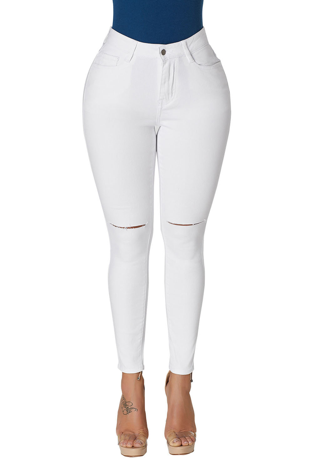 White Trendy Slit Knee Denim Pants