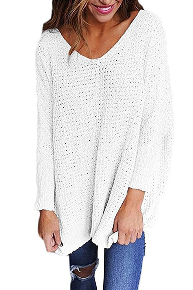 White Oversized Long Sleeve Knitted V-Neck Sweater