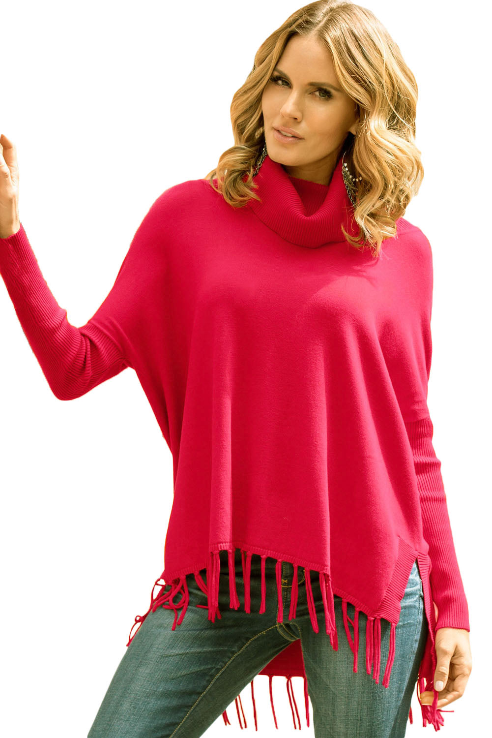 Red Turtleneck Fringe Hemline Tunic Sweater