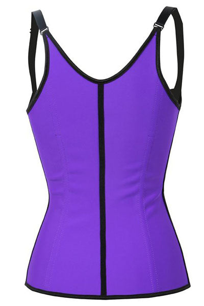 Purple Steel Boned Latex Waist Trainer Vest