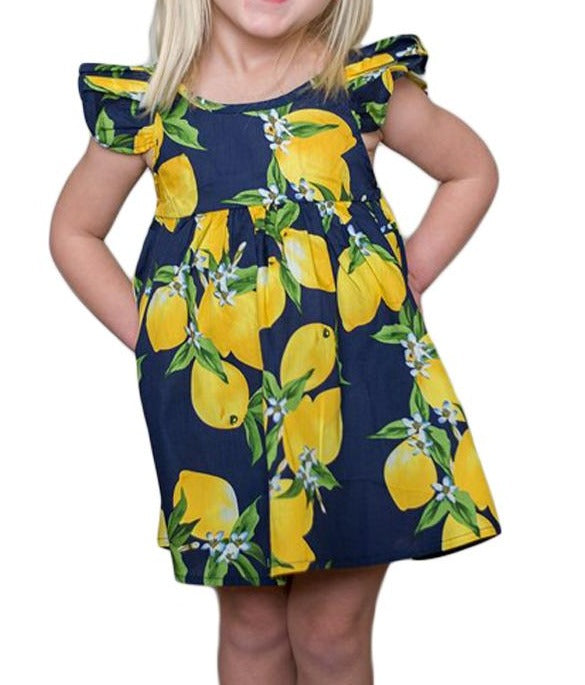 Navy Blue Lemon Print Girls' Sundress