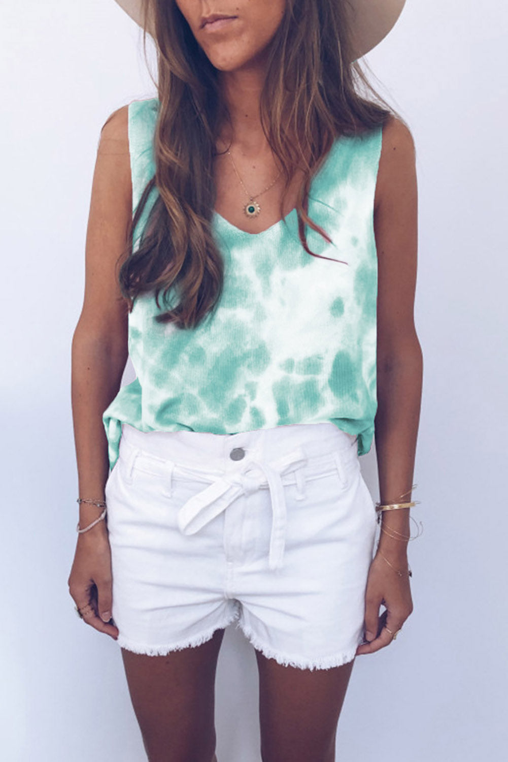 Green Washed Effect Tie Dye Tank