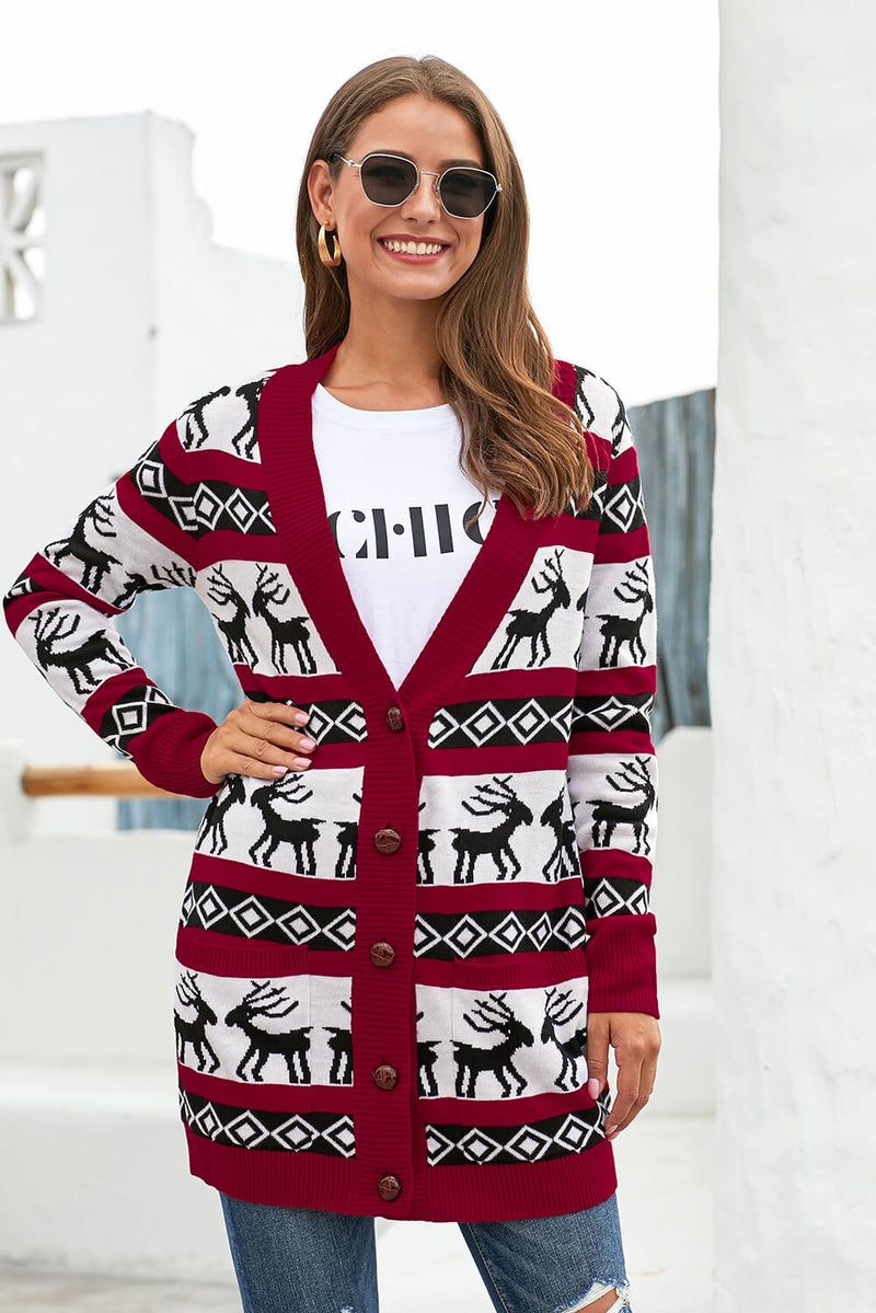 Red Elk Printed Long Sleeves Knitting Mid-length Christmas Cardigan