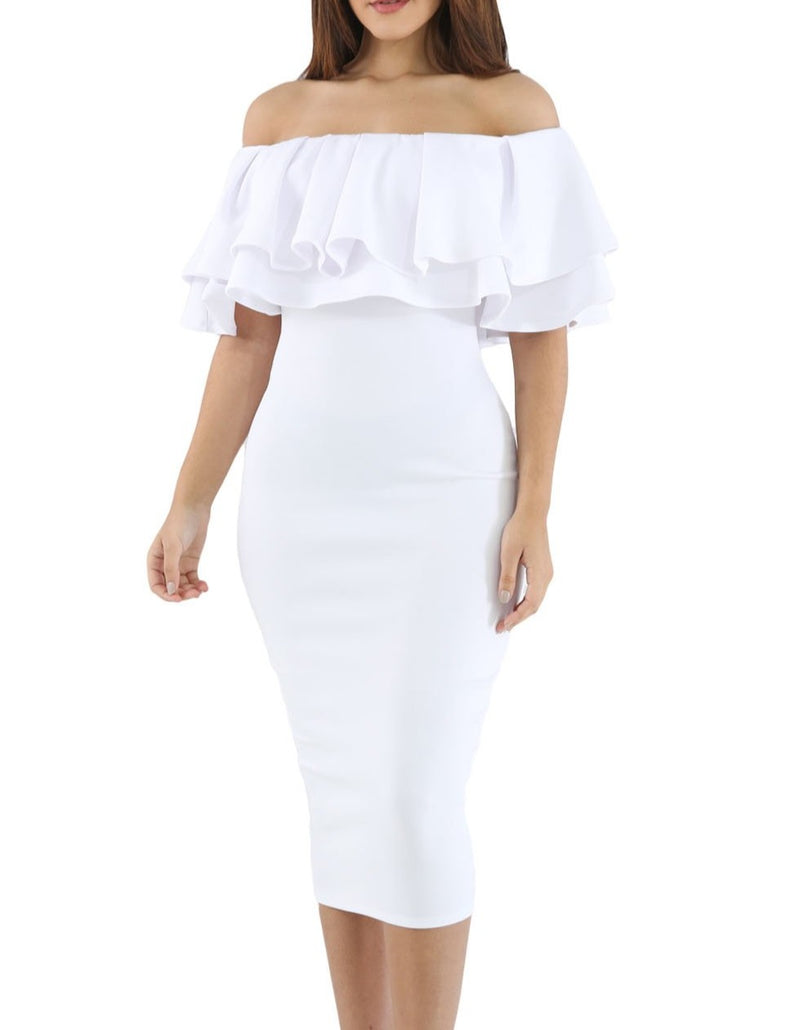 White Layered Ruffle Off Shoulder Midi Dress