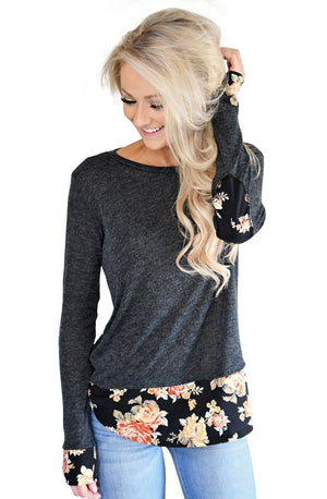Dark Floral Patchwork Charcoal Long Sleeve Shirt
