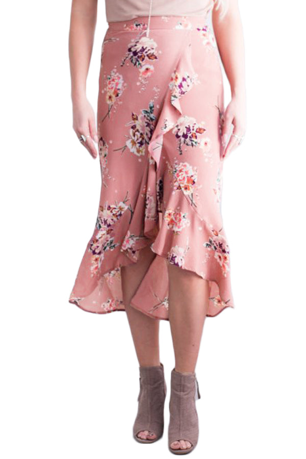 Floral Ruffle Wrap Skirt in Pink