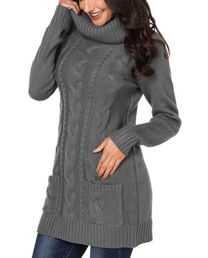 Gray Cowl Neck Cable Knit Sweater Dress