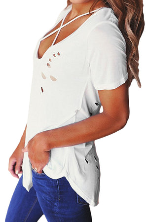 White Crisscross Neckline Distressed Cotton T-shirt