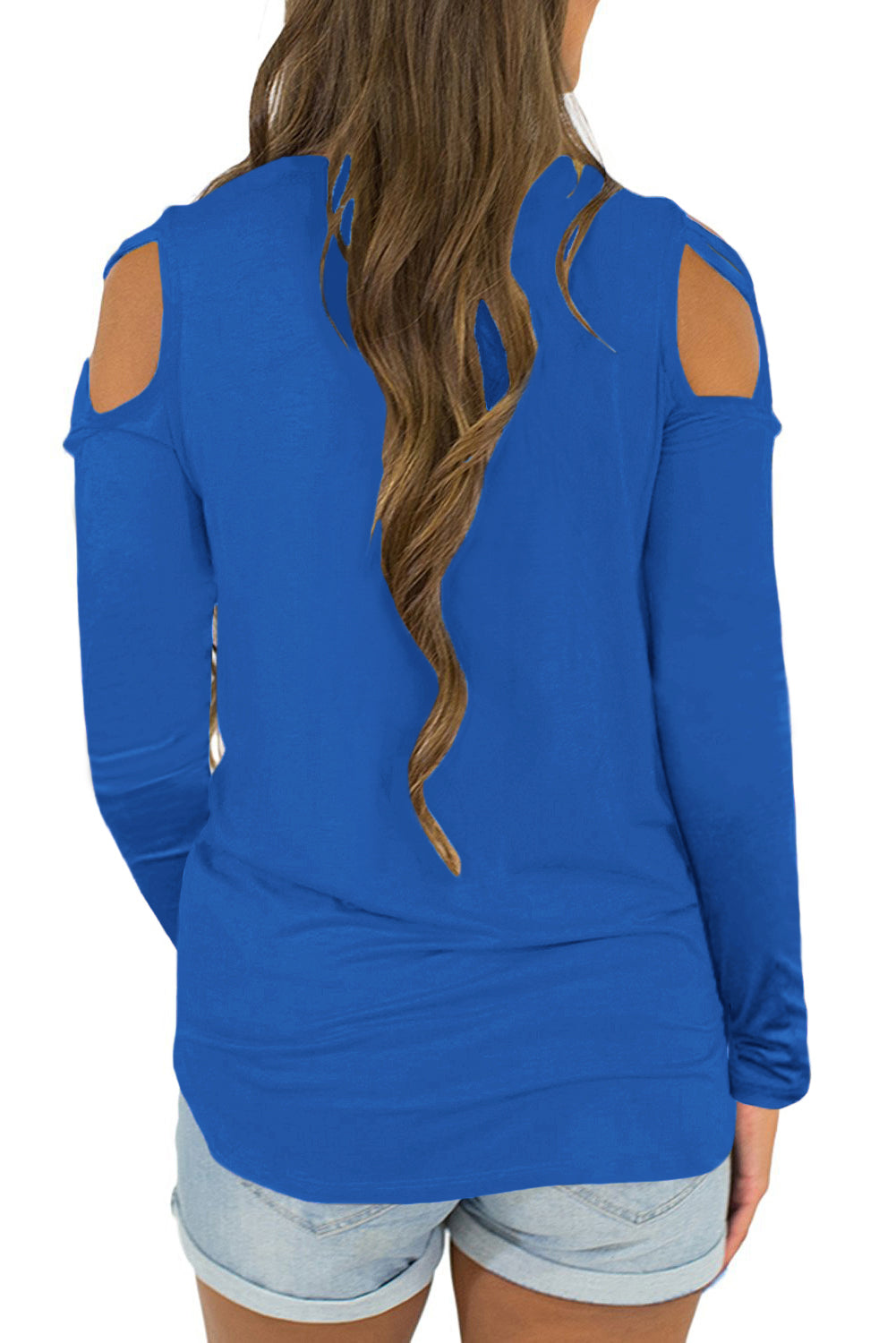 Royal Blue Crisscross Cold Shoulder Long Sleeve Shirt