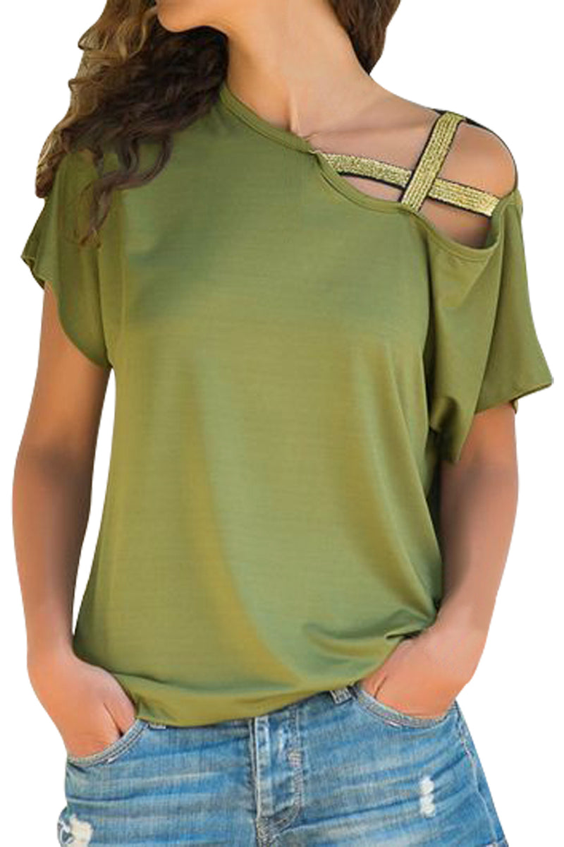 Glittery Cross Shoulder Detail Army Green Short Sleeve Tee