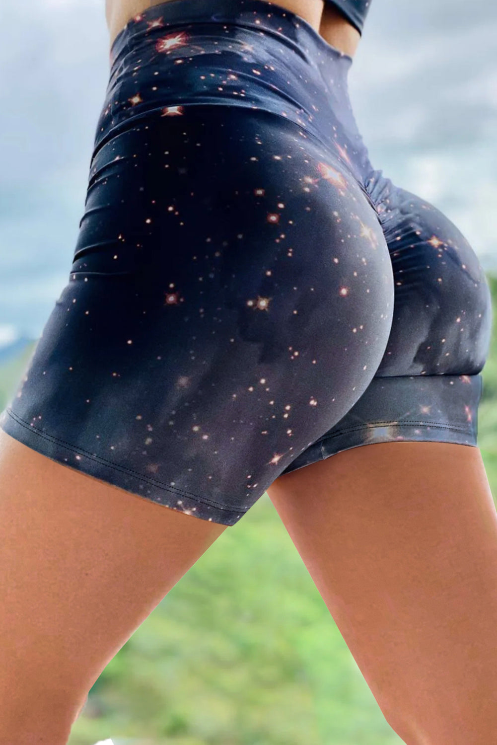 Gray Galaxy Print Booty Yoga Shorts