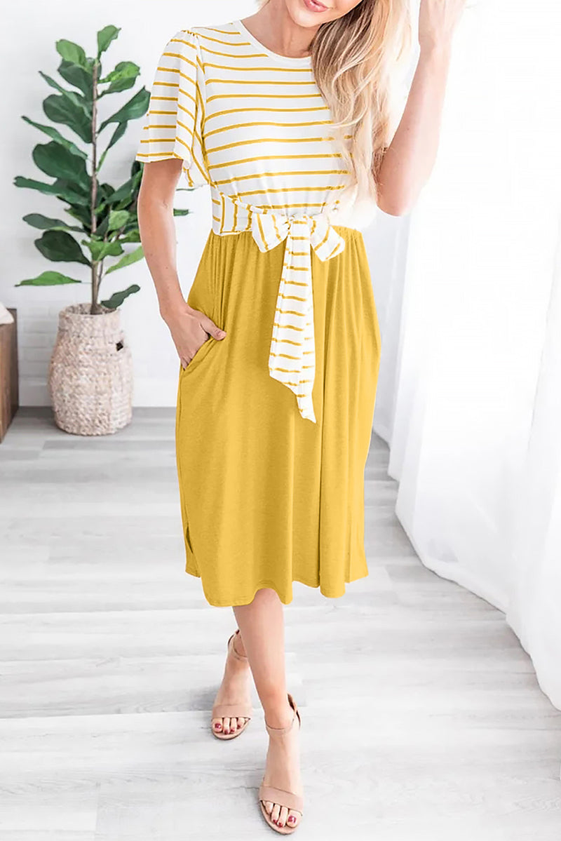 Yellow Striped Shirt Tie Front Casual Midi Dress