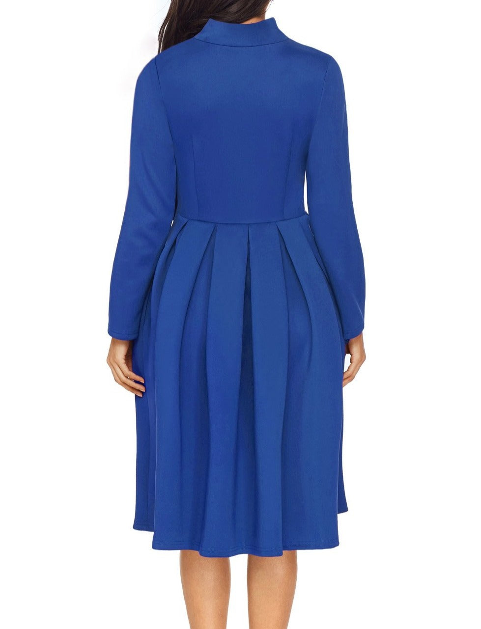 Royal Blue Pocket Style High Neck Skater Dress