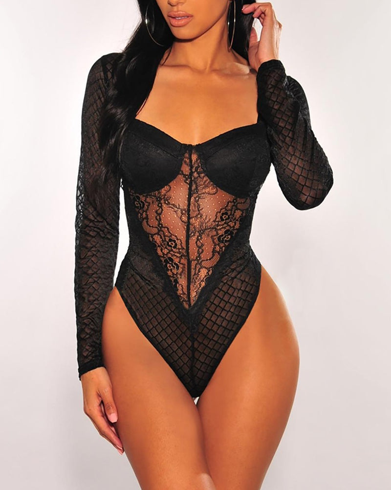 Black Sheer Lace Long Sleeves Padded Bodysuit