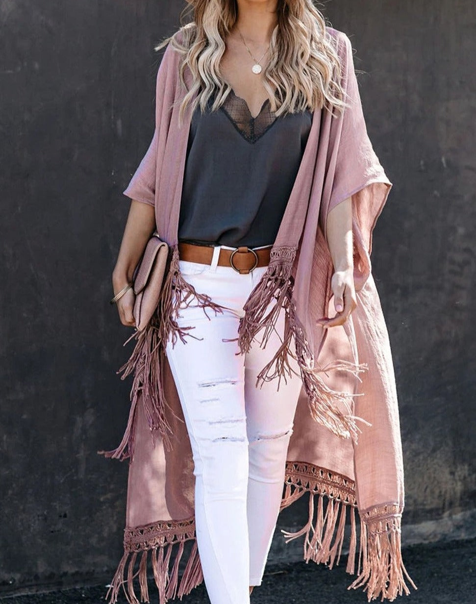 Pink Travel The World Tassel Kimono