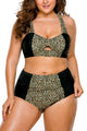 Grey Leopard Splice Curvy High Waist Swimsuit