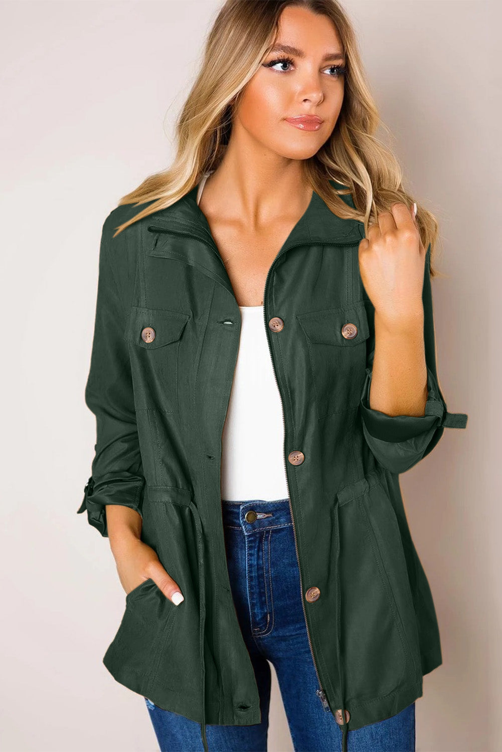 Green Bottoned Pockets Jacket
