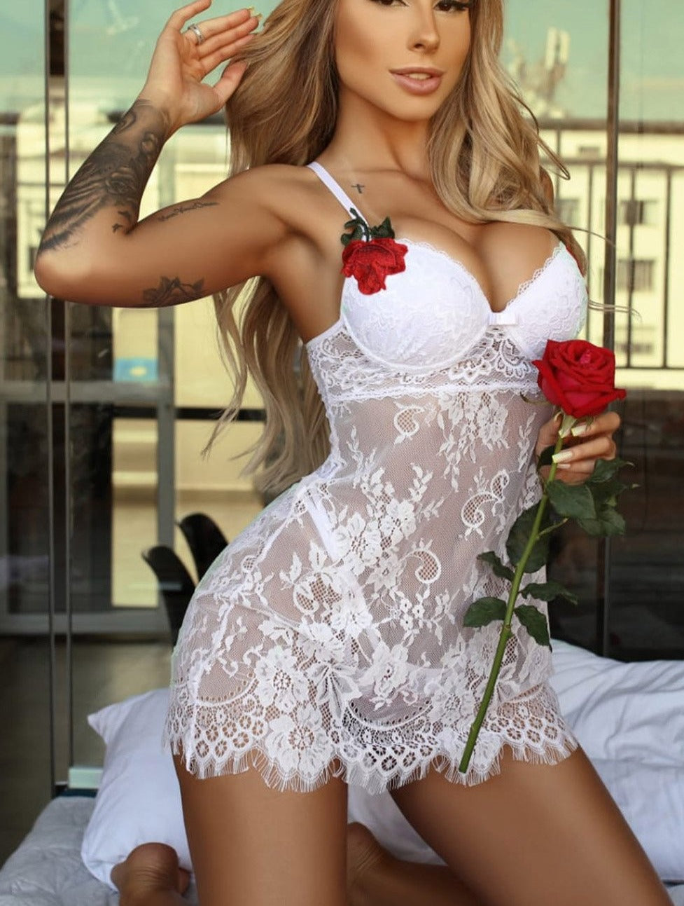 White Lace-up Back Floral Lace Babydoll